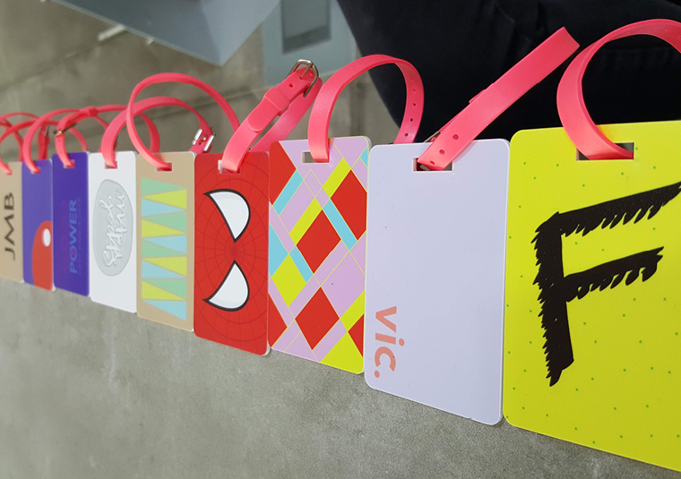 Visitors created their designs on Adobe software before they were printed onto luggage tags