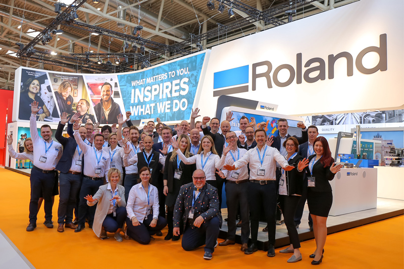 Roland DG team on the booth at FESPA
