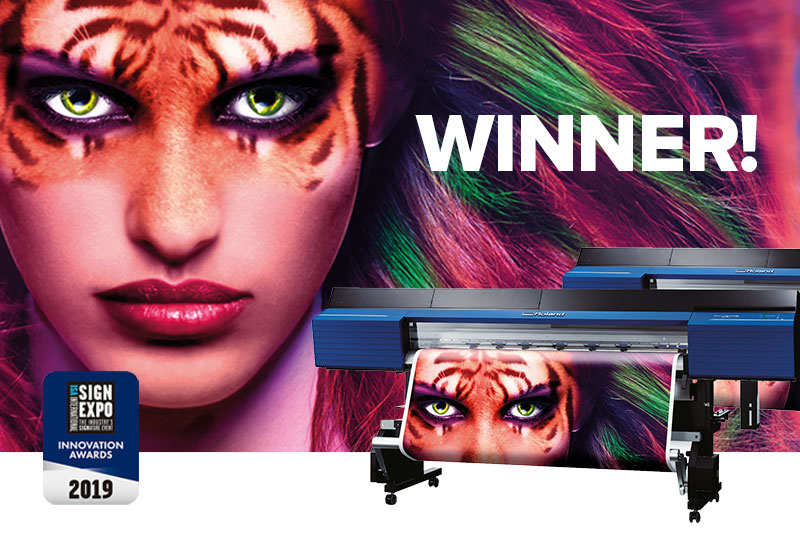 Roland TrueVIS VG2 series eco-solvent printer-cutters win the 2019 ISA Sign Expo Innovation Award in the Printer category