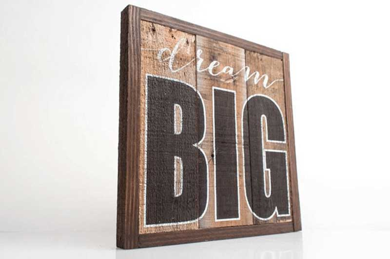 print on wooden sign