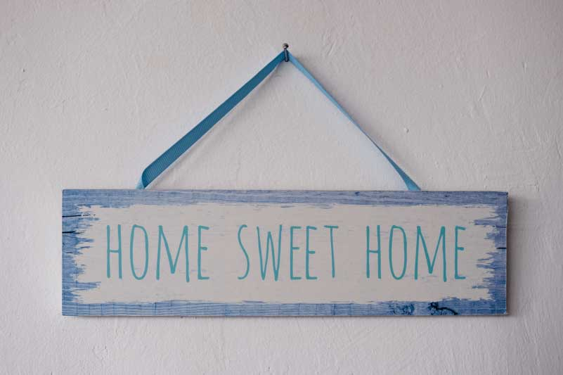 wooden sign printed home sweet home
