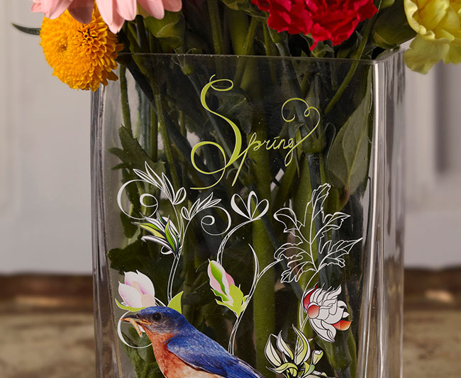 personalised vases using Roland UV printers