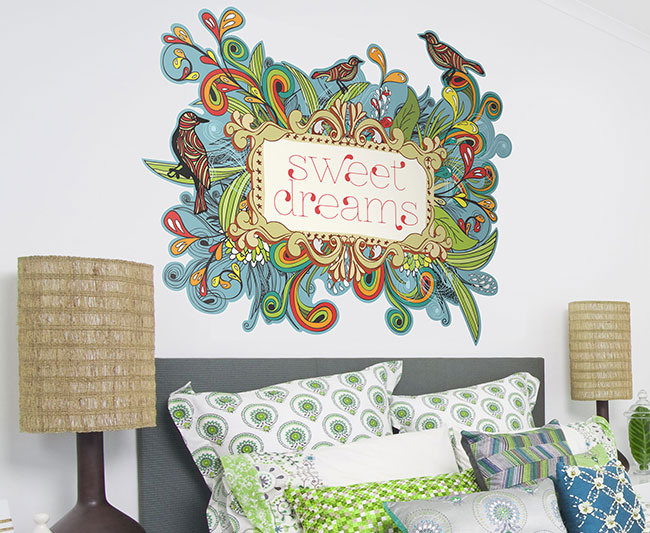printed above the bed wall decorations