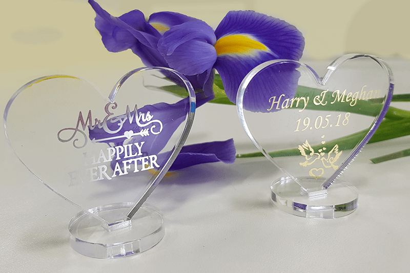 Personalised foil decorated wedding placemarkers