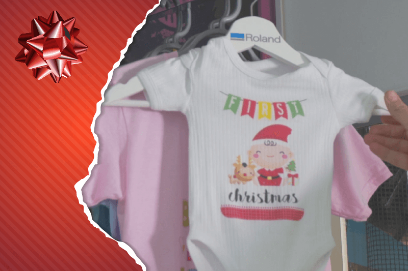 in store personalisation at christmas custom printed baby grow