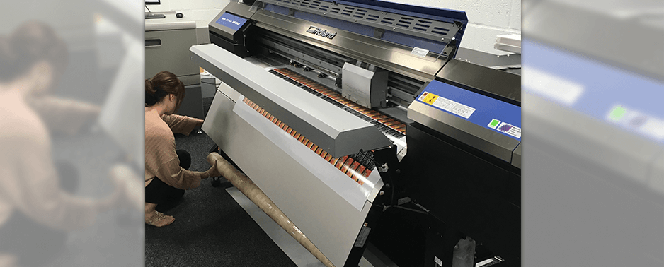 setting up wide format printer for printing labels