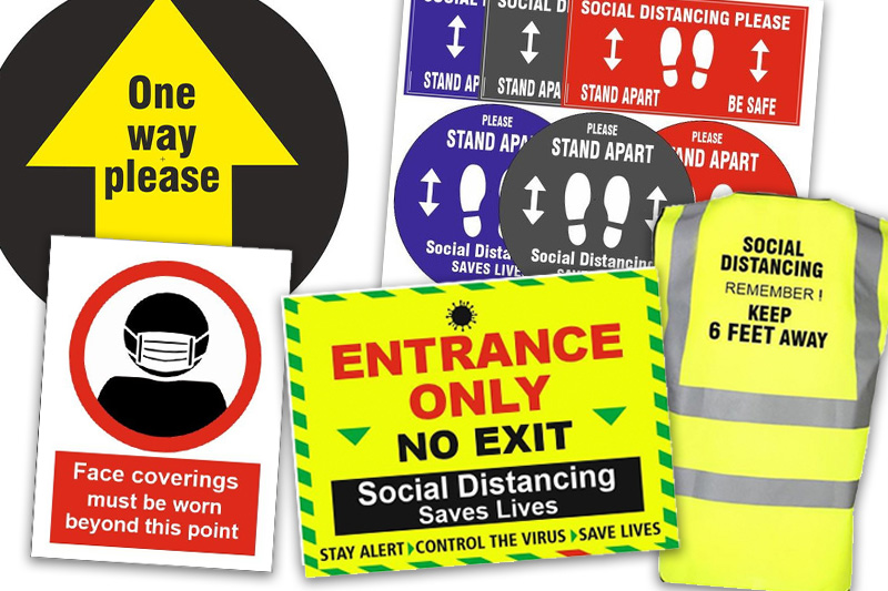 Safety signage images floor graphics, directional signage, stickers and personalised hi-vis jackets produced by HiVis