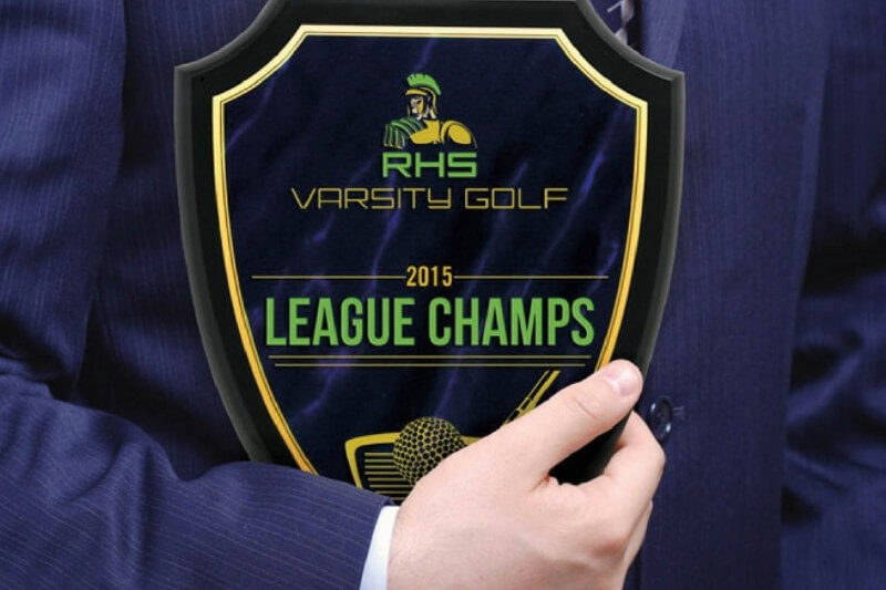 Golf champion award printed full colour on glass