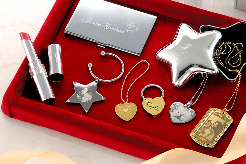 Photo impact print key rings, lipsticks, bracelets, business card holders and other gifts with Roland MPX engravers