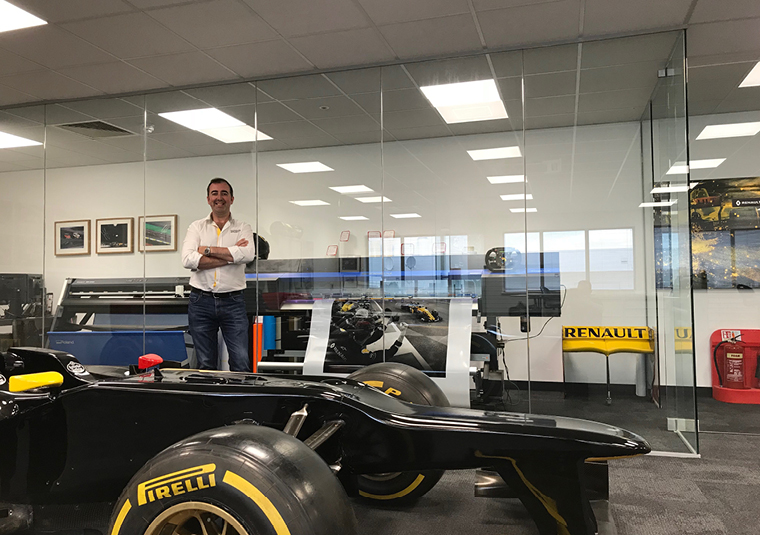 Joe McNamara Renault F1 The Renault car travels with 30 versions of every sticker