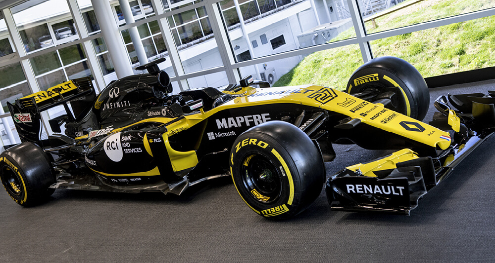 Renault F1 Team use Roland TrueVIS VG2 printer cutters for their vehicle graphics