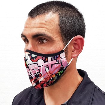 Image of a mask printed with dye sublimation technology