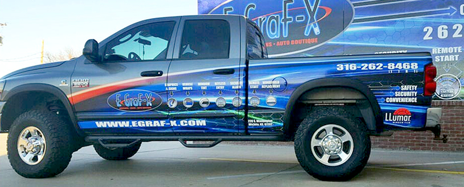 EGraF-X's work includes vehicle wraps, window tinting and more