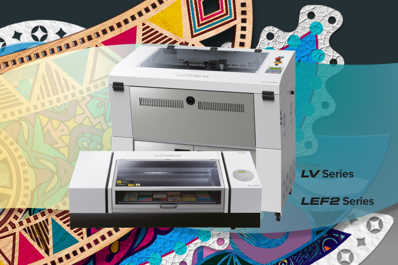 Roland LV series laser engravers with VersaUV LEF printers