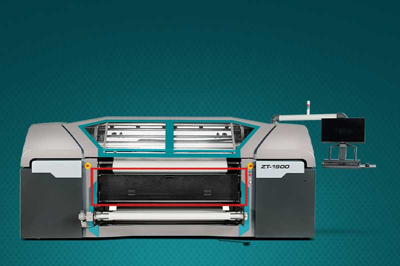 The drying system on the ZT-1900 is integrated into the machine