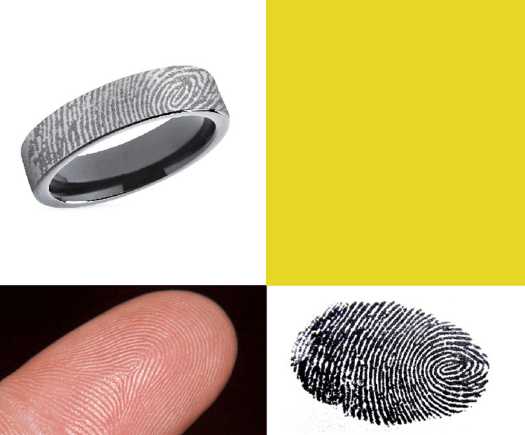Fingerprint engraved onto metal ring