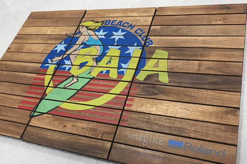 Printing directly on wooden decking tiles