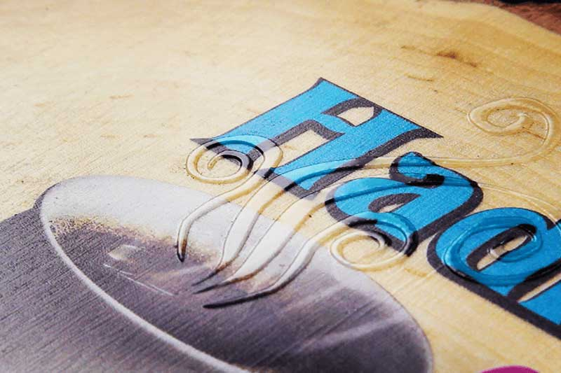 printing on wood with raised designs