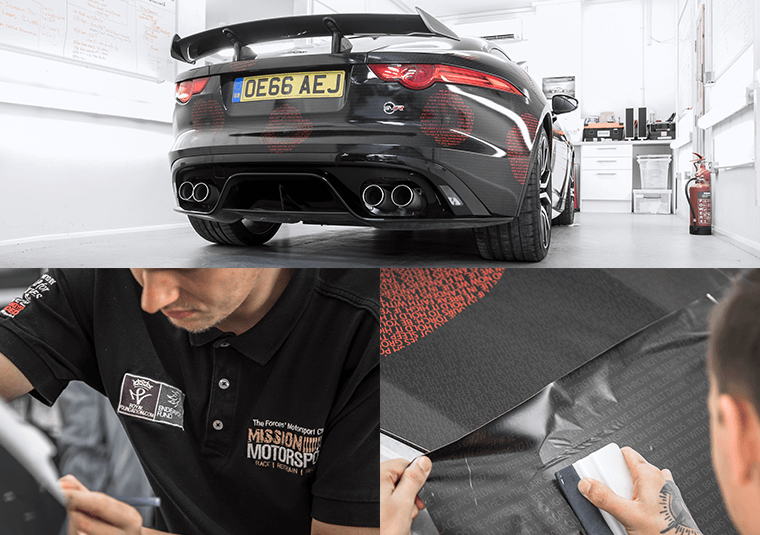 Vinyl wrapping a jaguar f-type