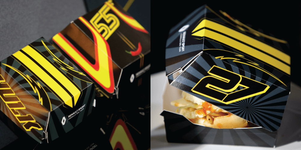renault sport formula one team burger boxes collage