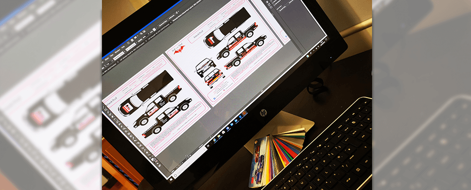Working on design proof for vehicle livery