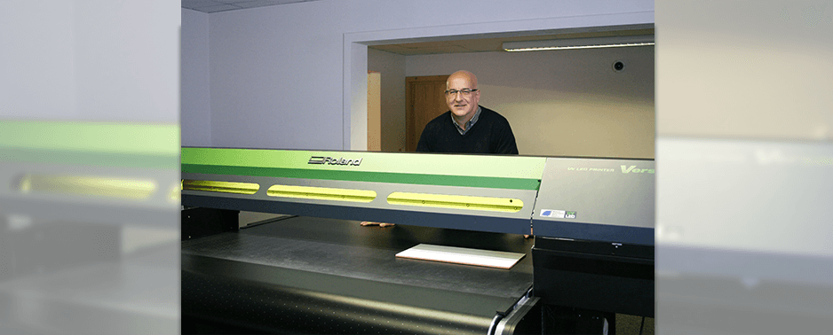 Andrew from Genesis Marketing with SSeries UV belt printer