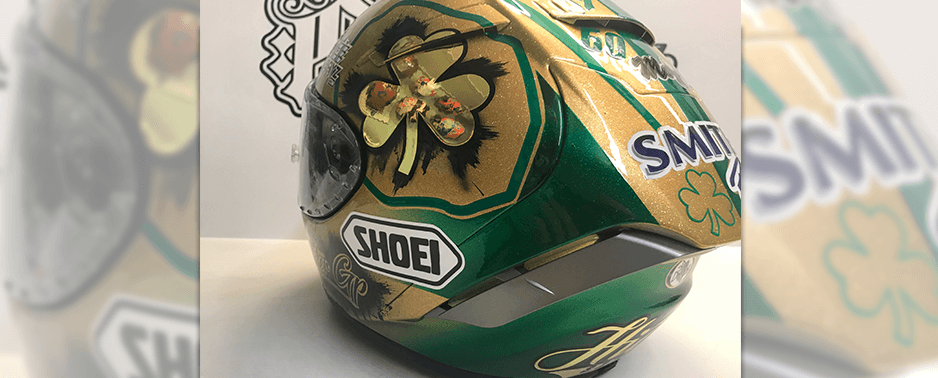 Foil decals on motorcycle helmet