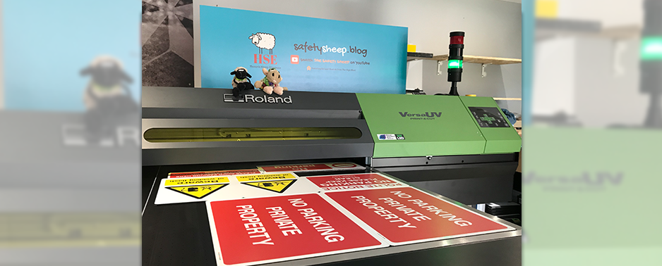 Flatbed UV printing warning signs