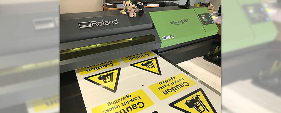 Safety signage printing on UV flatbed