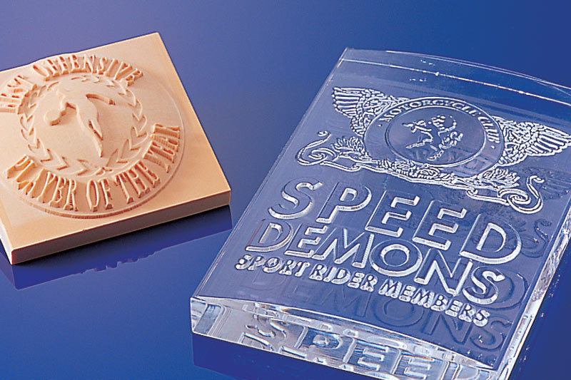 Roland engravers can create stunning effects in different materials for awards, trophies and medals