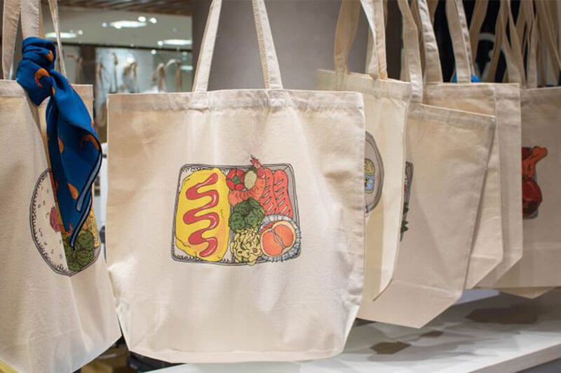 Makers' base created one-of-a-kind tote bags with unique Bento lunchbox designs