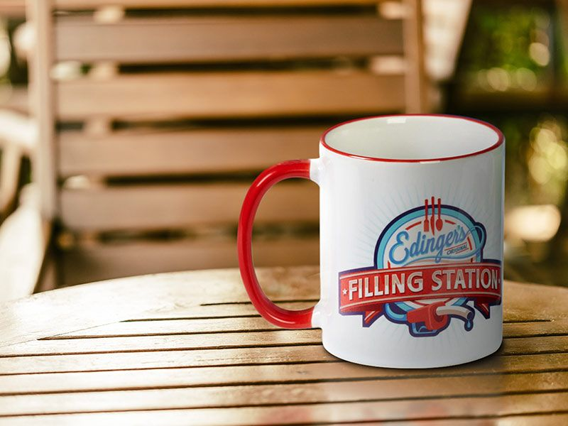 Printed mugs with messages, logos and graphics are ideal for business