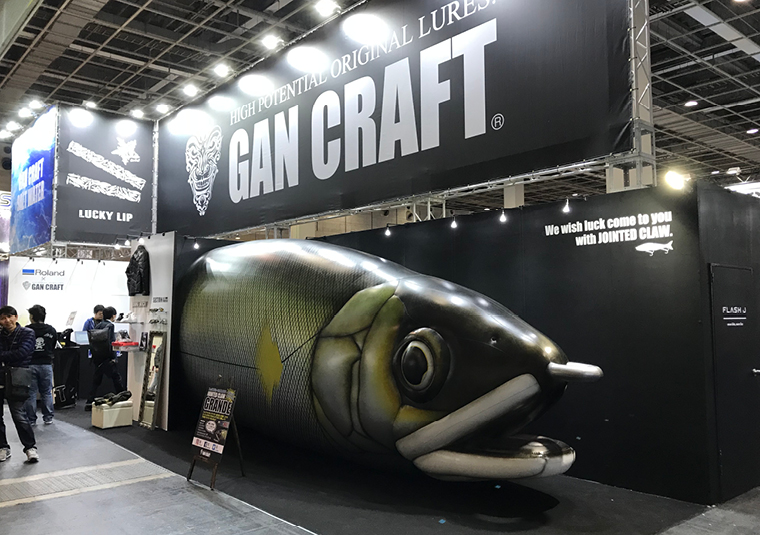Japanese brand Gan Craft set up its LEF at a fishing show in Osaka