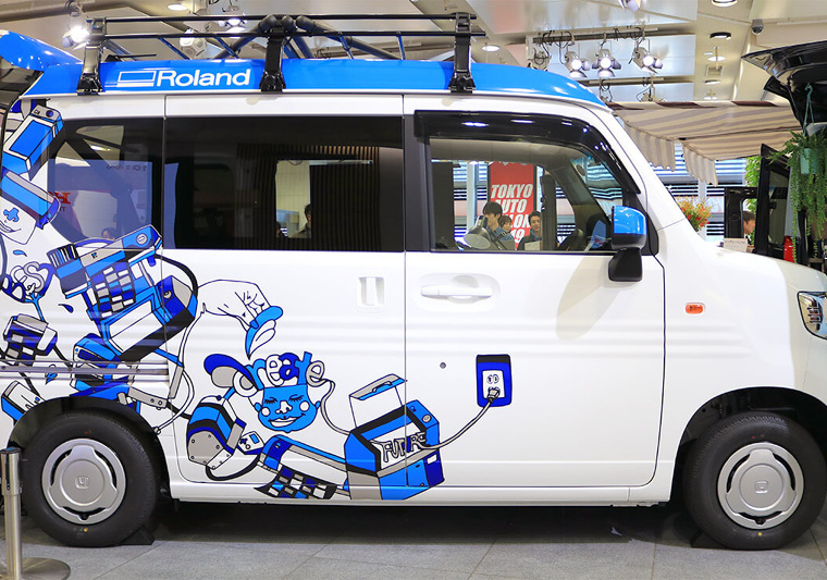 The vehicle wrap was printed with the help of Kanbanman.com using Roland inkjet printers