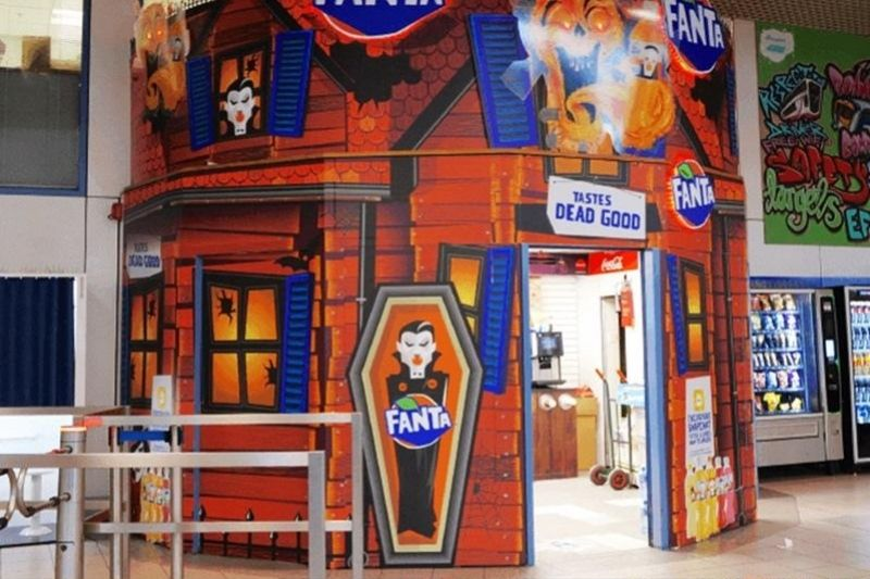 Fanta pop-up display created by Roland printer user Vinehall Displays in a bus station