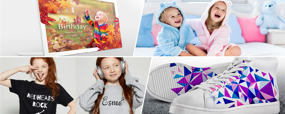 Montage of various personalised products