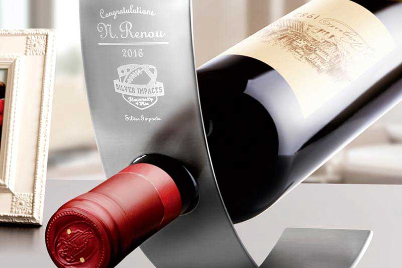 Engraved Metal Wine Bottle Holder
