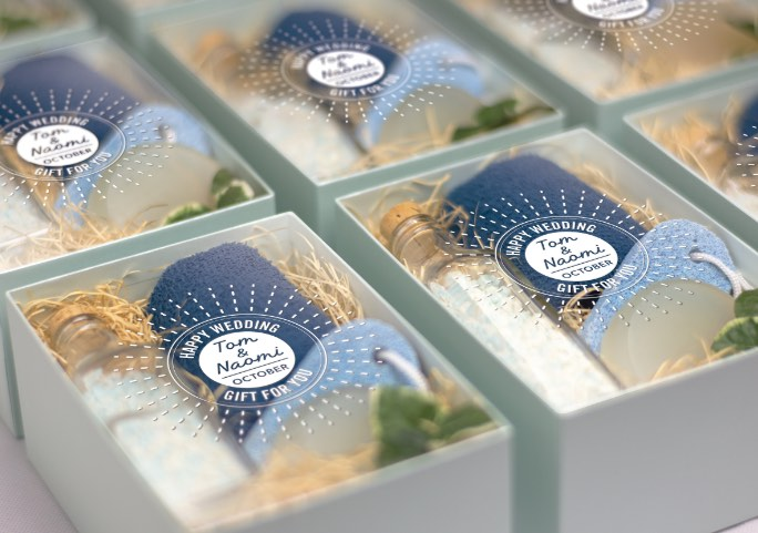 Micro-run labels for gift packaging sample