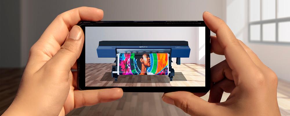 La TrueVIS VG2 proyectada con un móvil en una oficina vacía mediante realidad aumentada