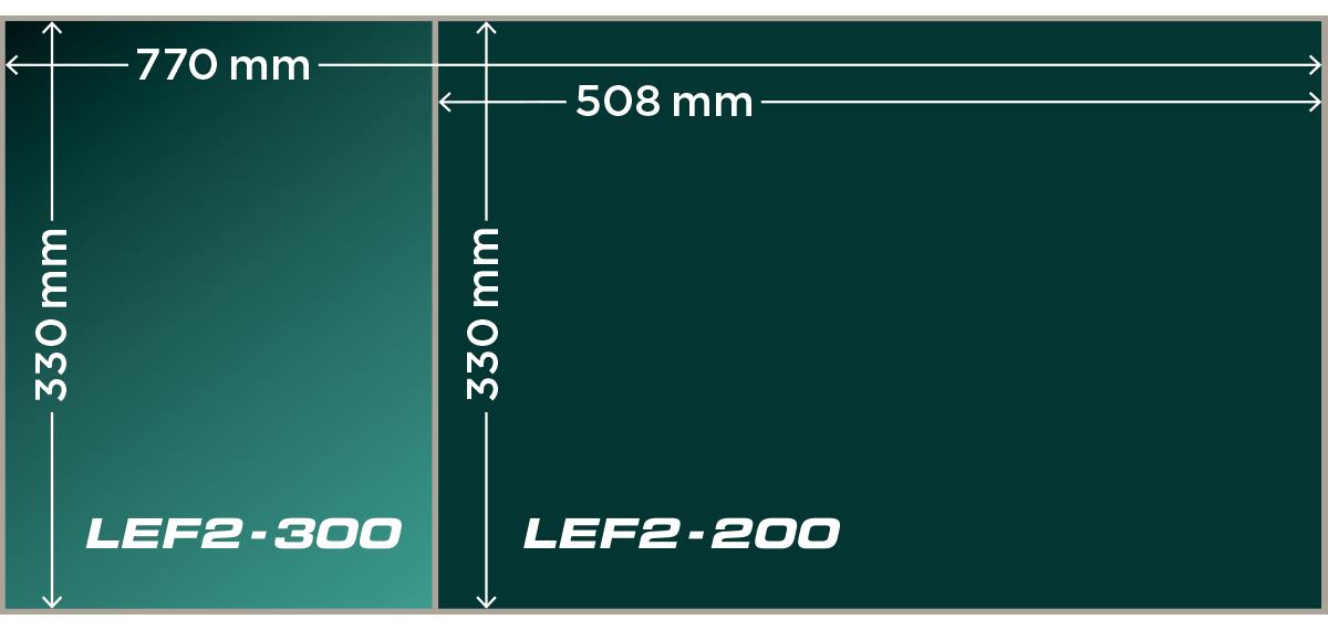 Tamaño de las mesas de LEF2-200/300