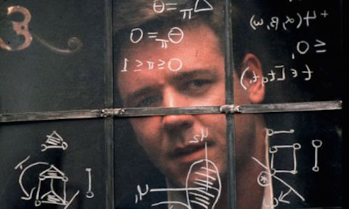 Russell Crowe durante le riprese del film A beautiful mind