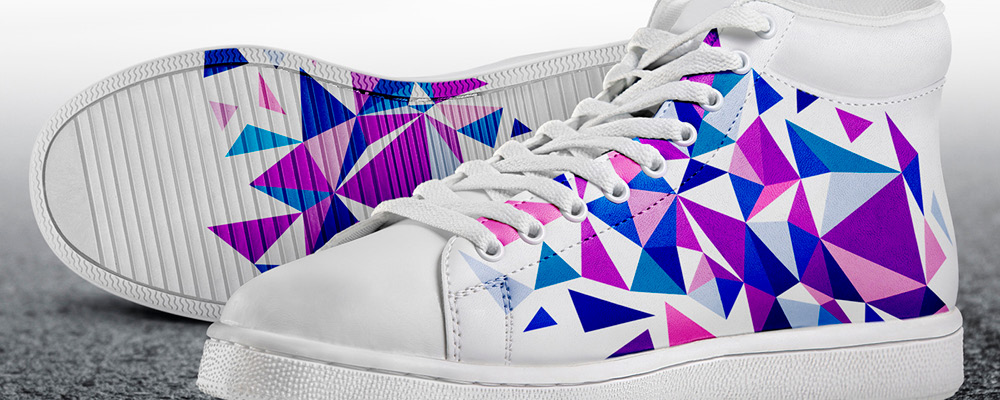pair of trainers customised with abstract design
