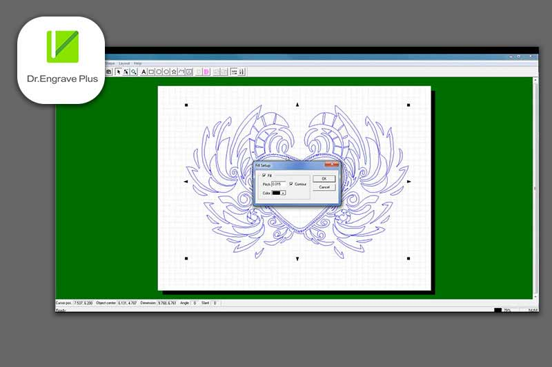 Screenshot van Dr. Engrave Plus software meegeleverd met de DE-3 graveermachine