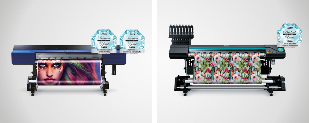 Roland TrueVIS VG2 series printer/cutters, TR2 ink, and the Texart RT-640M multifunction dye-sublimation printer win 2019 SGIA Awards