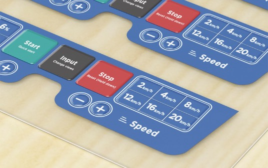 Control panels of assorted languages and colors sample